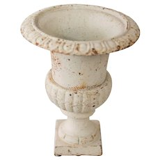 Antique French White Cast Iron Urn Planter