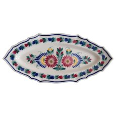 C. 1940 Large French Faience Quimper Floral Fish Platter