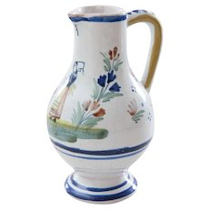 Antique French Quimper Hand Painted Creamer Pitcher