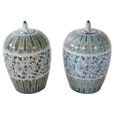 Chinese Hand Painted Ginger Jars, a Pair