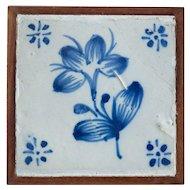 18th Century Antique Framed Floral Delft Dutch Hand Painted Tile