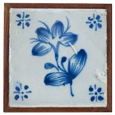 18th Century Antique Framed Floral Delft Dutch Hand Painted Tile