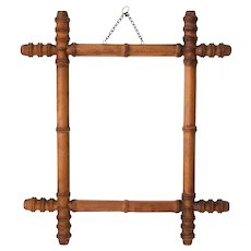 Antique 19th Century French Faux Bamboo Carved Mirror
