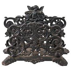 Art Nouveau Black Cast Iron Cherub Letter Holder