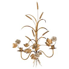 """Large 27"""" Vintage Italian Florentine Tole Gilt Wheat Floral Wall Candle Sconce"""