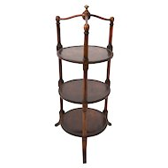 Antique English Mahogany Three Tiered Server