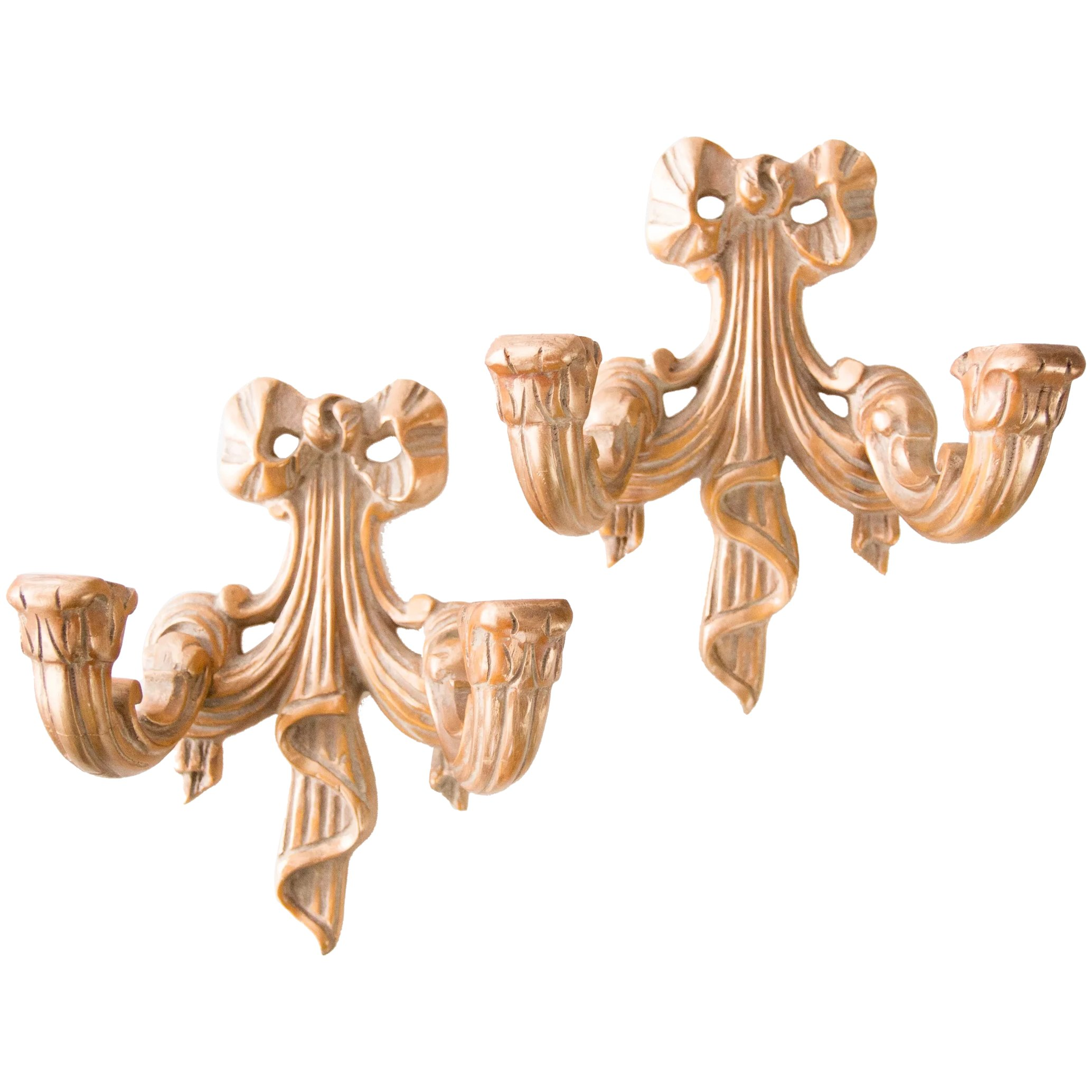 French Gilt Wood Carved Bow Candle Wall Sconces A Pair