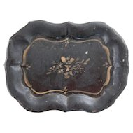 Antique French Black Hand Painted Tole Tray