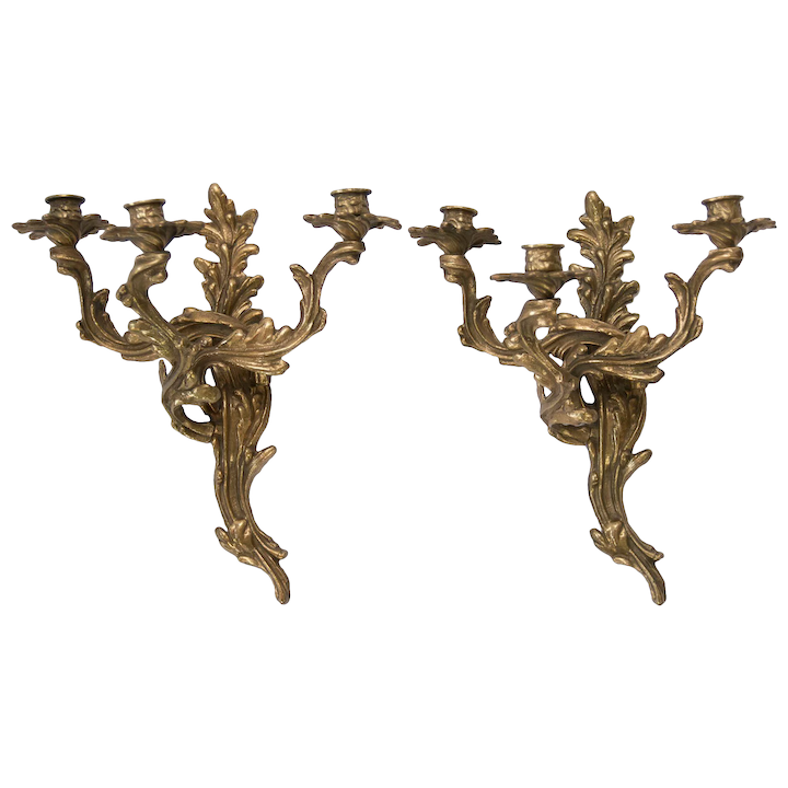 Antique French Rococo Bronze Candle Wall Sconces Pair
