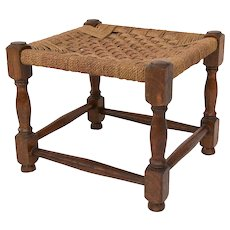 Antique English Oak and Cording Foot Stool