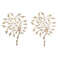Vintage Brass Tree Leaf Wall Hooks, a Pair