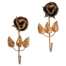 Gilded Italian Tole Roses Wall Hooks, a Pair