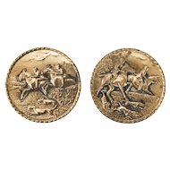 English Embossed Hammered Brass Equestrian Wall Plates, Set of 2