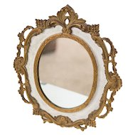 Antique French Bronze Table Dressing Mirror