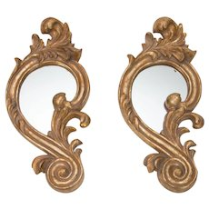 French Giltwood Carved Decorative Mirrors, a Pair
