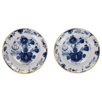 Antique 18th Century Dutch Delft Flower Plates, a Pair