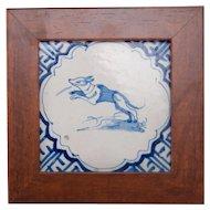 Antique 17th Century Dutch Delft Framed Dog Tile