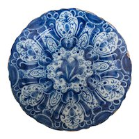 Antique 18th-Century Delft Dutch Faience Tulip Charger