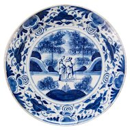 Antique 18th-Century Dutch Delft Plate With Figures