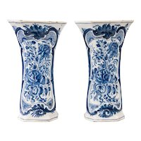Antique 18th-Century Dutch Delft Faience Floral Trumpet Vases, Pair