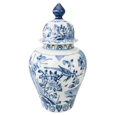 """Large Early Dutch Delft Chinoiserie Lidded 13"""" Bird Vase"""