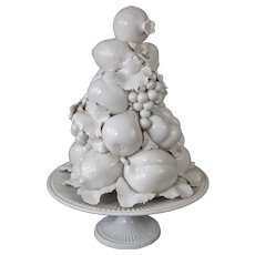 Large Italian White Creamware Fruit Topiary Centerpiece