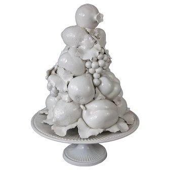 Large Italian White Creamware Fruit Topiary Centerpiece
