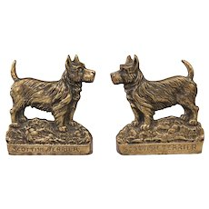 Early English Brass Scottish Terrier Dogs Bookends, Pair