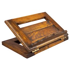 Antique English Oak Tabletop Lectern Book Stand Easel