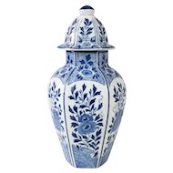 Early Dutch Delft Faience Floral Lidded Vase
