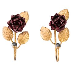 French Gilded Tole Red Flowers Wall Hooks Hangers, a Pair