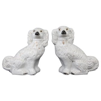 Large Antique English Staffordshire Dogs, a Pair