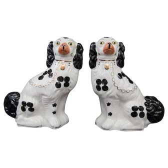 Large Early English Staffordshire Spaniel Dogs, a Pair