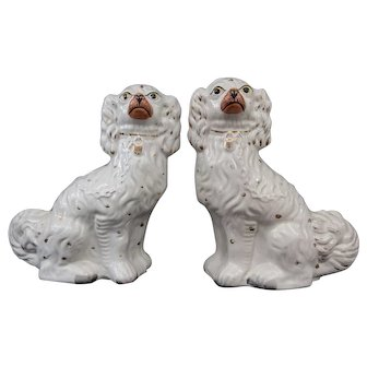 Large Antique English Staffordshire Spaniel Dogs, a Pair