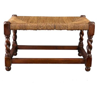 Antique English Barley Twist Oak and Cording Footstool