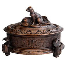 Antique 19th Century Black Forest Carved Dog Box, Lock & Key