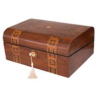 19th-Century English Walnut Domed Tunbridge Box, Lock & Key