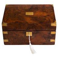 Antique 19th Century English Walnut & Brass Box, Lock & Key