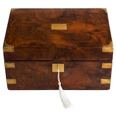 Antique 19th Century English Walnut & Brass Box, Lock & Key