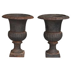 French Neoclassical Cast Iron Urns, a Pair