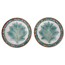 Antique French Majolica Leaf & Floral Plates, a Pair