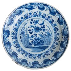 Antique 18th-Century English Delft Faience Floral Charger