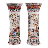 "Large 17"" Antique 19th Century Delft Polychrome Vases, a Pair"
