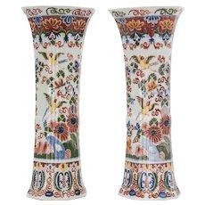 Large Antique 19th Century Delft Polychrome Vases - a Pair
