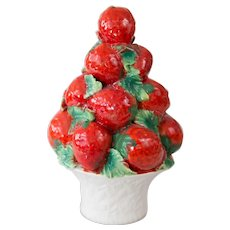 Vintage Italian Majolica Strawberry Topiary