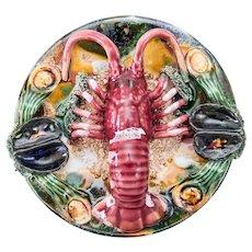 Majolica Trompe l'Oeil Lobster Wall Plate