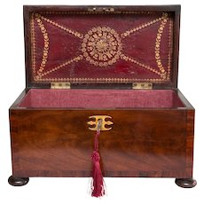 18th Century English Georgian Flame Mahogany Box, Lock & Key