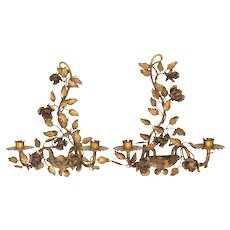 Italian Florentine Gilt Tole Roses Candelabra Candle Wall Scones, a Pair