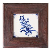 Antique Dutch Delft Framed Floral Tile