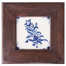 Antique Dutch Delft Framed Floral Tile